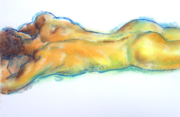 nude male pastel drawing